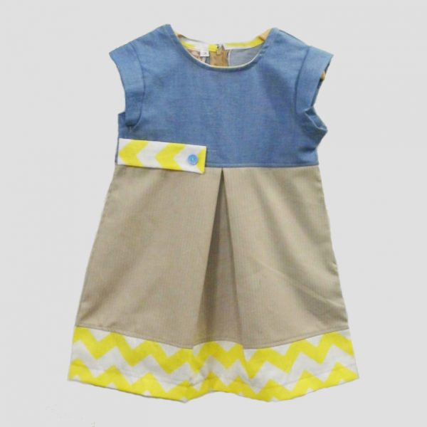 Tan & Yellow Chevron Block Dress
