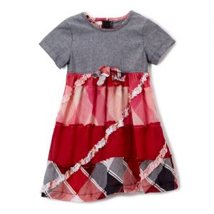 Grey and Red Ruffle Dress