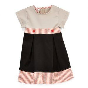 Grey, Black and Red Stripe Dress